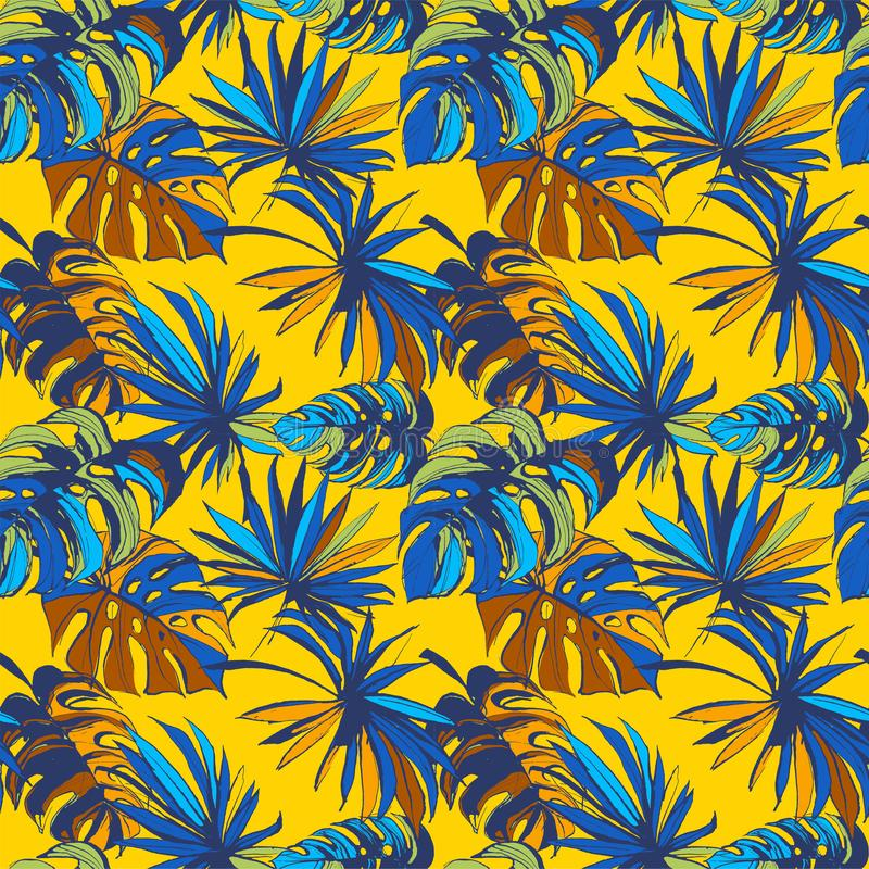 Tropical jungle floral seamless pattern background palm beach leaves. vector illustration