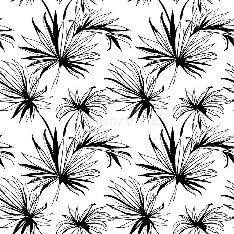 Tropical jungle floral seamless pattern background with palm le vector illustration
