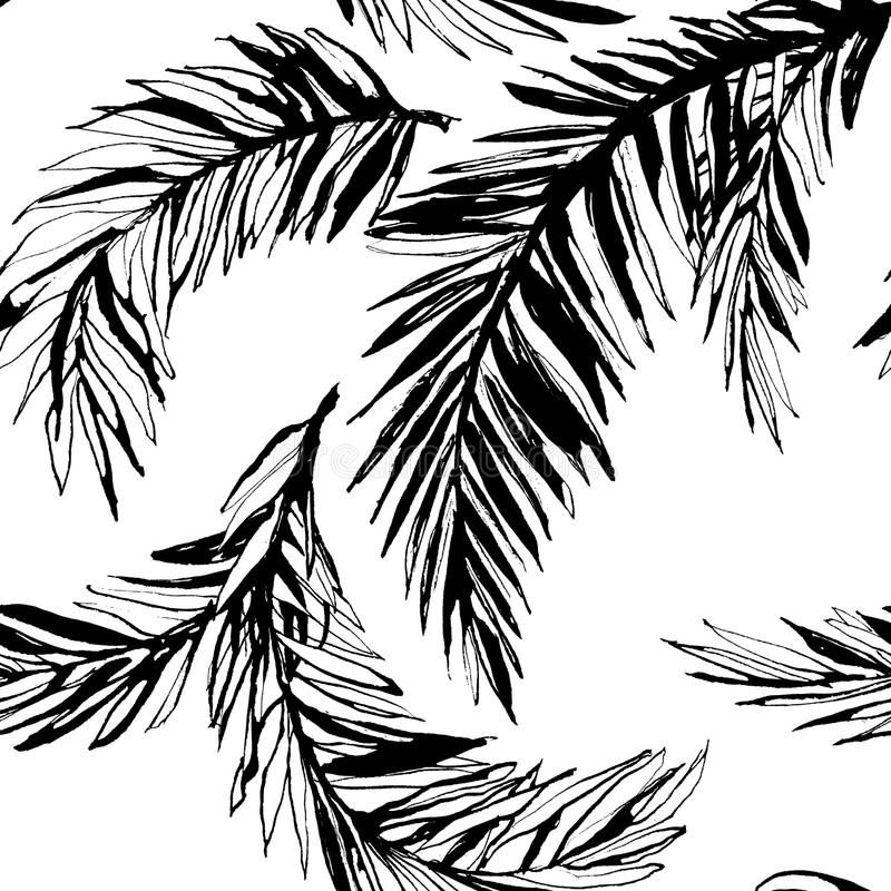 Tropical jungle floral seamless pattern background with palm le royalty free illustration