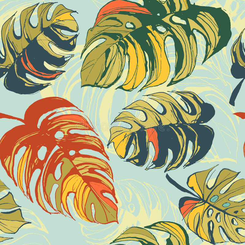 Tropical jungle floral seamless pattern background with palm le stock illustration