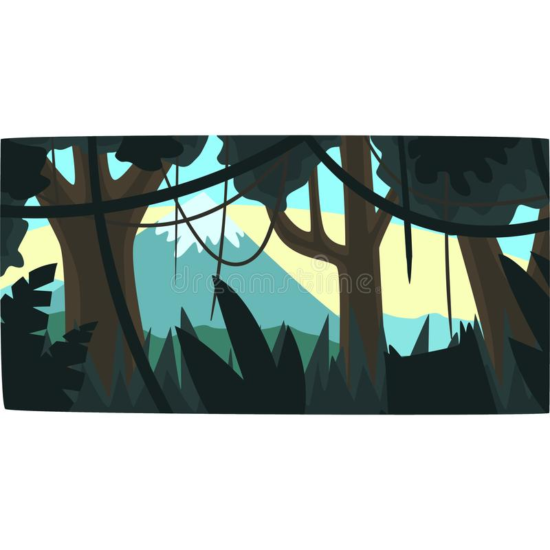 Tropical jungle, greenwood background with leaves, bushes and trees, tropical rainforest scenery in a morning time vector illustration
