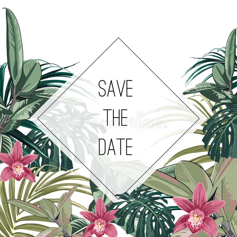 Tropical jungle palm tree leaves with exotic orchid flowers on white background. Text placeholder in the middle. Wedding marriage event invitation. Vector vector illustration