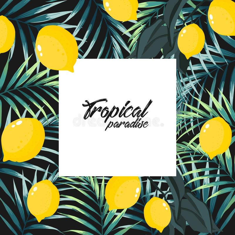 Tropical jungle palm tree leaves with lemons on black background. Text placeholder in the middle. Event invitation template. Vector design illustration stock illustration