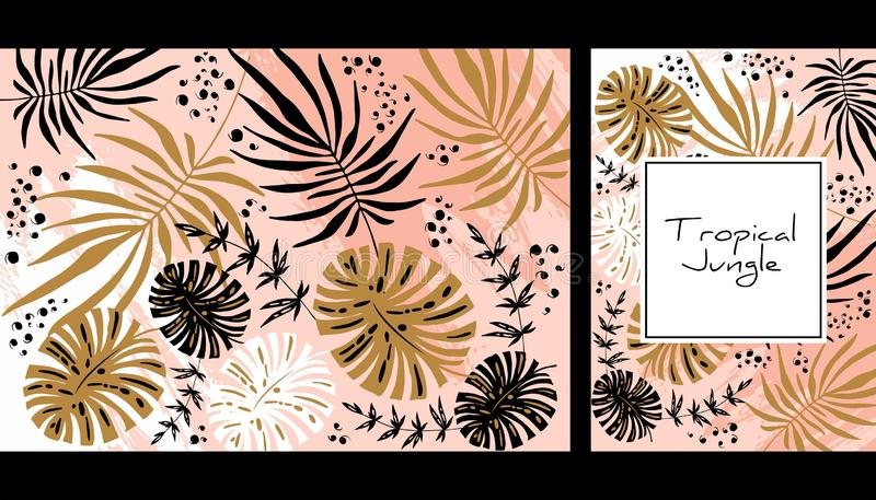 Tropical jungle pattern, handdrawn watercolor vector illustration. Leaves print. Summer design. Creative background. Design for. Notebook, banner and cover stock illustration