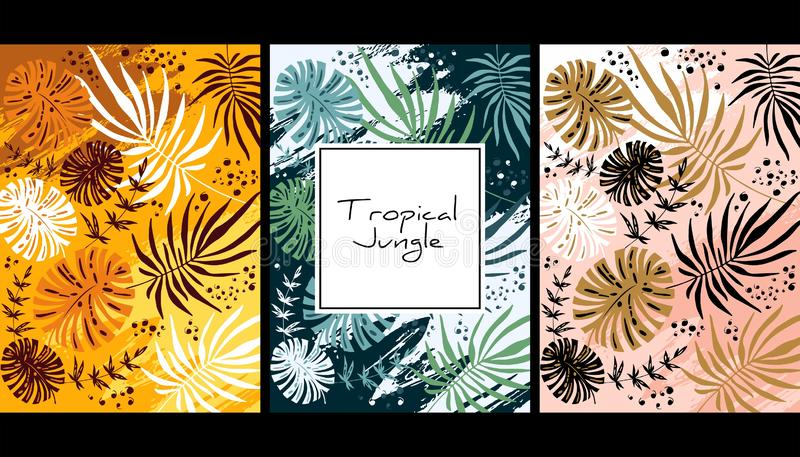 Tropical jungle pattern, handdrawn watercolor vector illustration. Leaves print. Summer design. Creative background. Design for. Notebook, banner and cover royalty free illustration