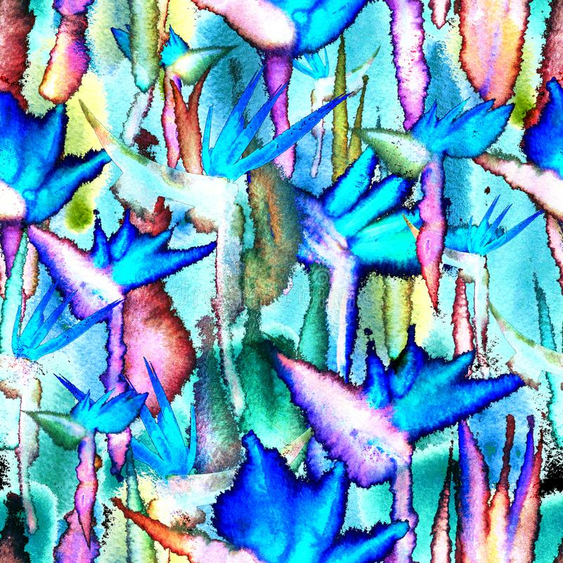 Tropical jungle seamless pattern print watercolor tie dye endless repeat flower pastel delicate. Pastel Tropical jungle flowers, leaf. Watercolor seamless royalty free stock photos