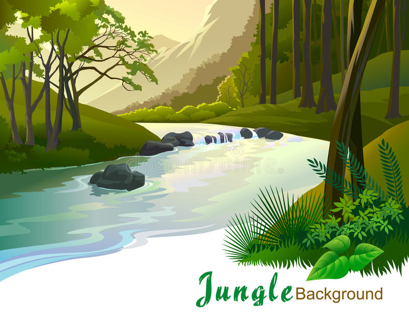 Tropical jungle trees and river gushing vector illustration
