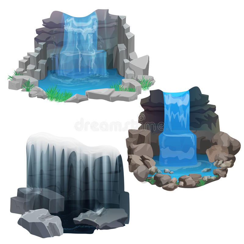 Free Tropical Jungle Waterfall Set. Ice Frozen Waterfall. Royalty Free Stock Images - 73576039