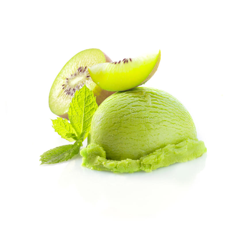 Tropical kiwi icecream dessert. With delicious creamy green ice-cream served wioth fresh sliced kiwi fruit garnished with mint stock photo