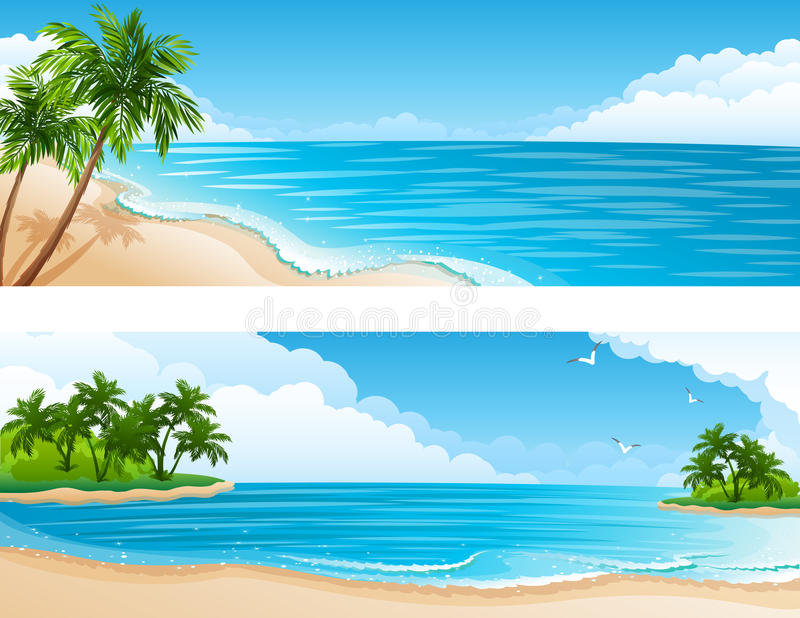 Download Tropical landscape stock vector. Image of palm, cloud - 14122278