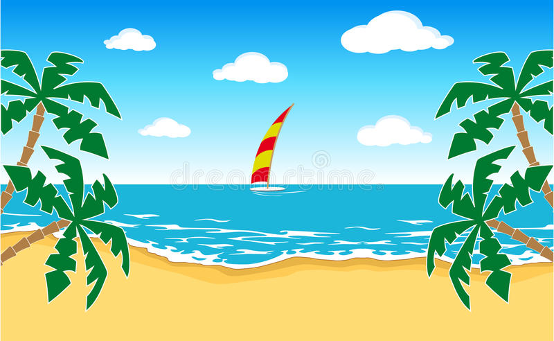 Download Tropical landscape stock vector. Image of holiday, horizon - 18830895