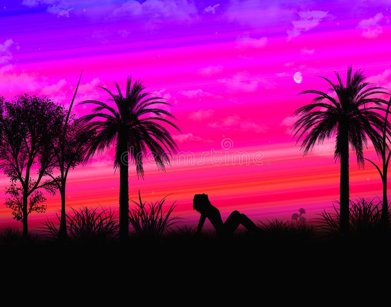 Tropical landscape with shadow girl royalty free stock image