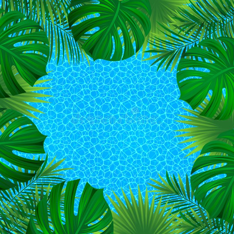 Tropical landscape. Square border frame. Vector illustration. beautiful tropic background. good choice for summer, travelling, royalty free illustration
