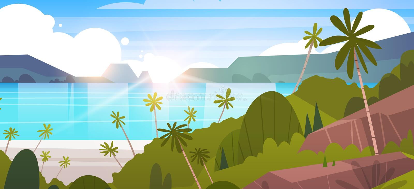 Tropical Landscape Summer Seaside Beach With Palm Tree And Mountains stock illustration
