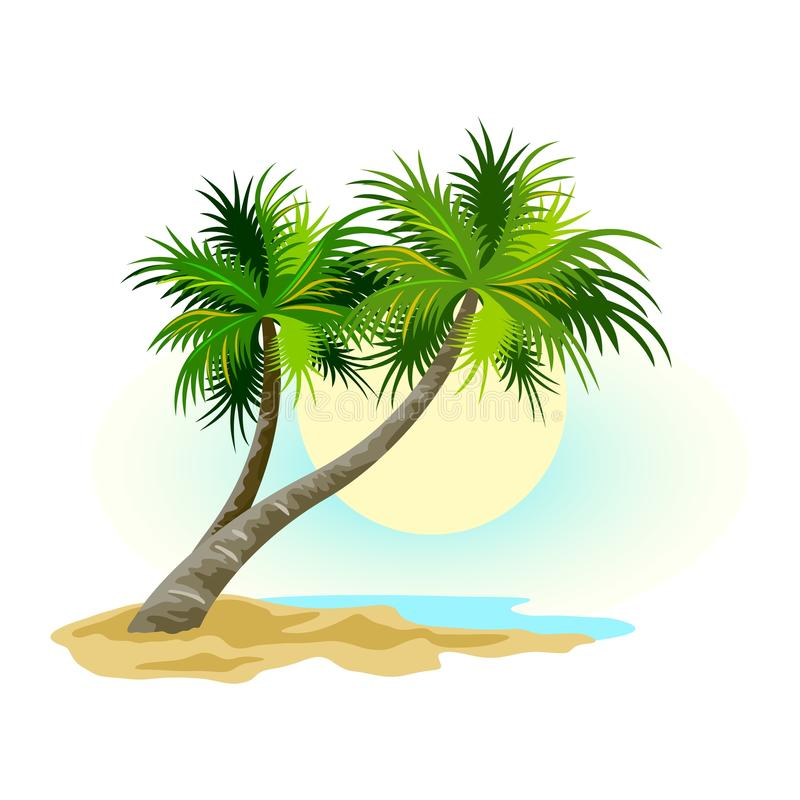 Tropical landscape with sunny sky, palm trees on beach. Summer vacations in tropics. stock illustration