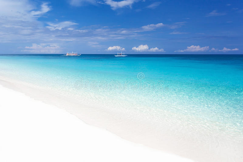 Tropical landscape with turquoise sea and white beach stock photography