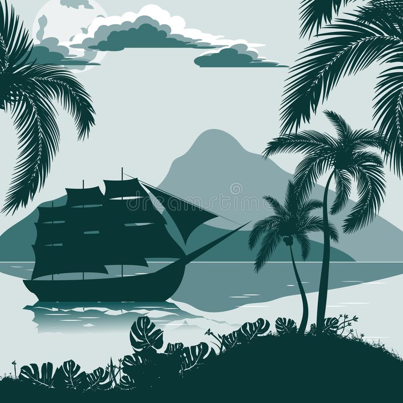 Tropical landscape, view from the shore with palm trees and plants, sailing ship, mountains in the distance. vector illustration