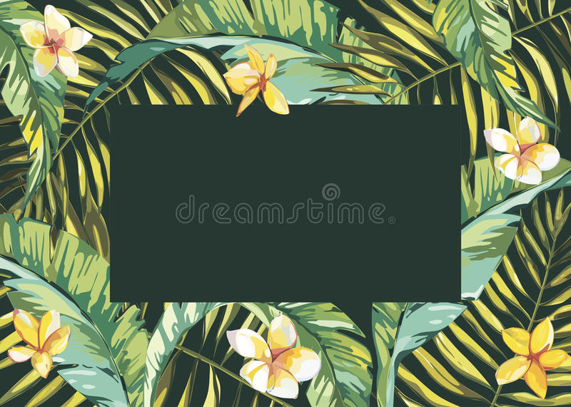 Tropical leafs composition background. Flat shapes hand drawn. Green on black with bird of plumeria flowers. EPS 10. Tropical leafs composition background. Flat stock illustration