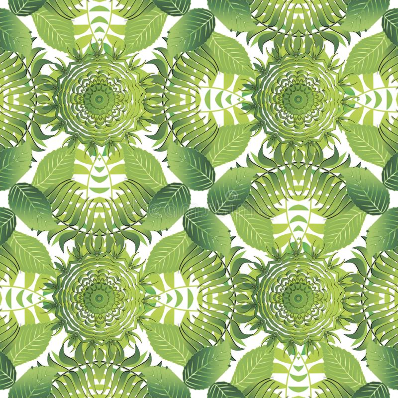 Tropical leafy vector seamless pattern. Green palm leaves and branches on white background. Ornamental spring summer repeat nature royalty free illustration