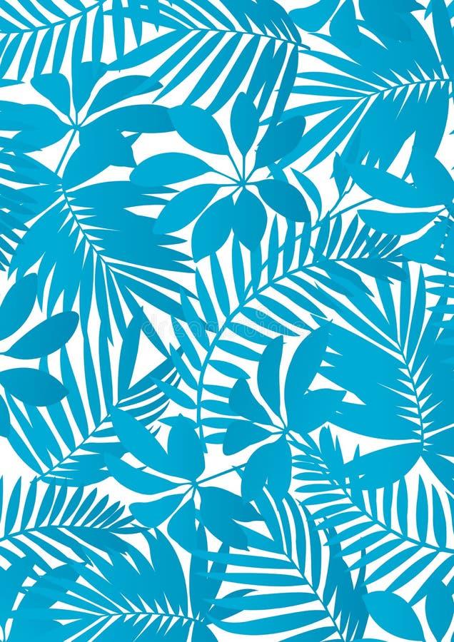 Tropical leaves Aqua blue. Vector illustration of tropical leaves