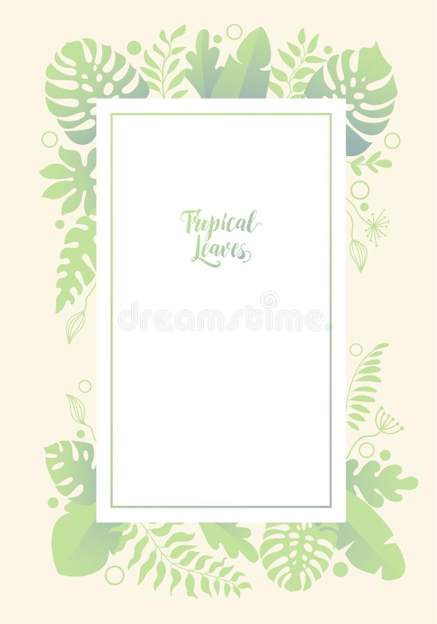 Vertical background with jungle palm tree branches and leaves. royalty free illustration