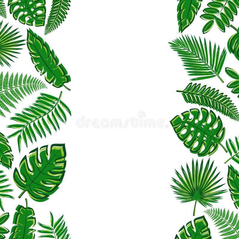 Tropical leaves background. Collection icon tropical leaves. Vector stock photos
