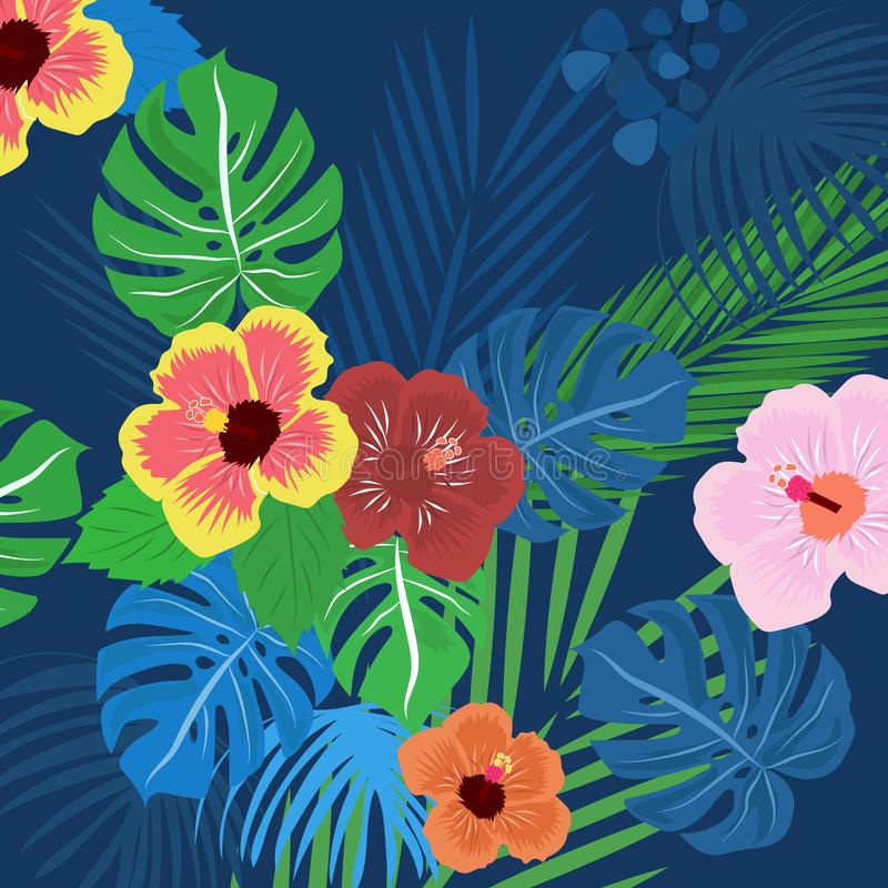 Tropical leaves background template vector design royalty free stock images