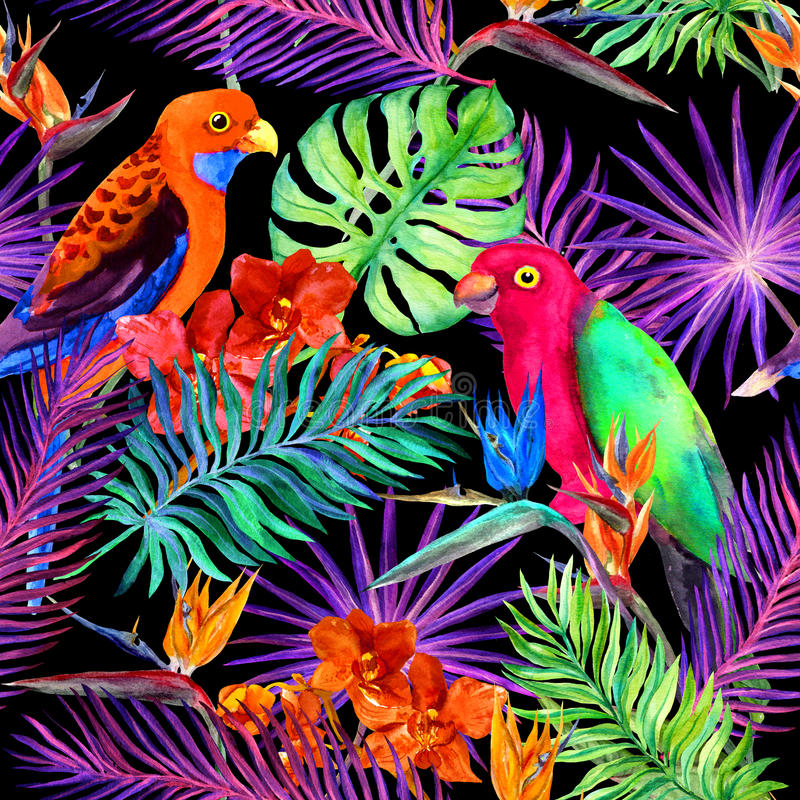Tropical leaves, exotic flowers, parrot birds in neon. Repeating jungle pattern. Watercolour royalty free illustration