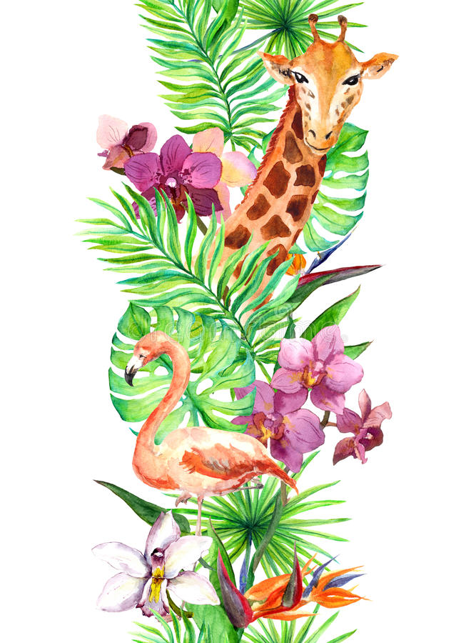 Tropical leaves, flamingo bird, giraffe, orchid flowers. Seamless border. Watercolor stock illustration