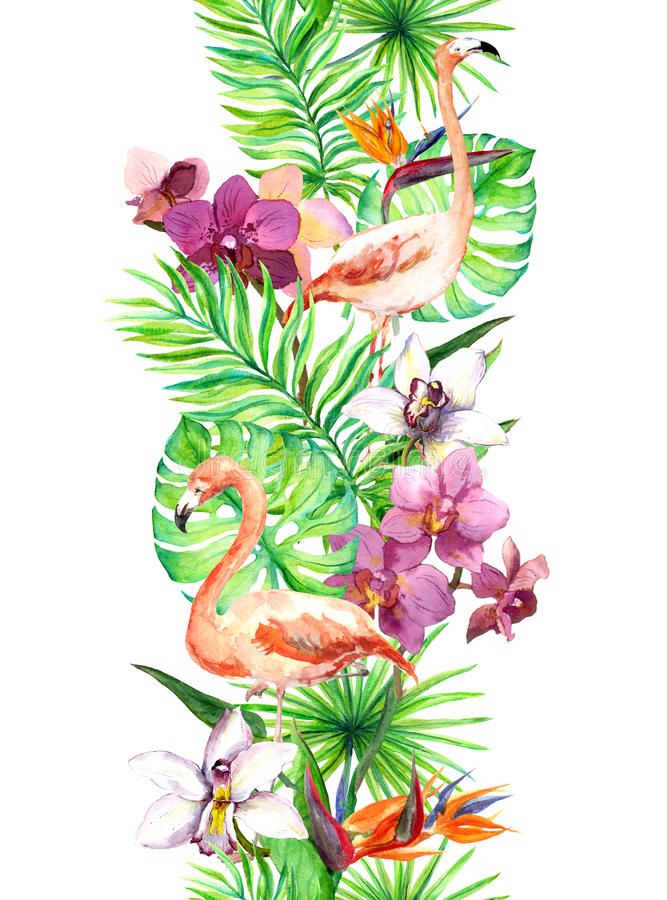 Tropical leaves, flamingo bird, orchid flowers. Seamless border. Watercolor frame stock illustration