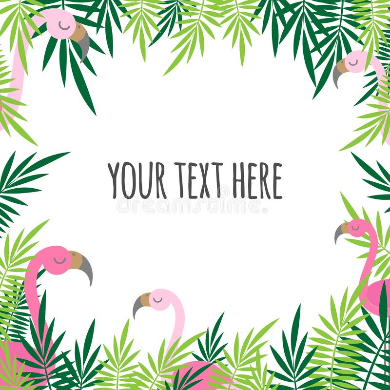Tropical leaves green and pink flamingo summer frame text card banner square background stock illustration