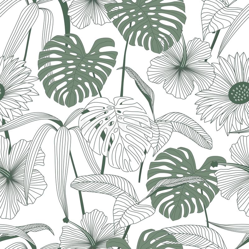 Free Tropical Leaves, Jungle Leaves Seamless Vector Floral Pattern Background Royalty Free Stock Photos - 168184728
