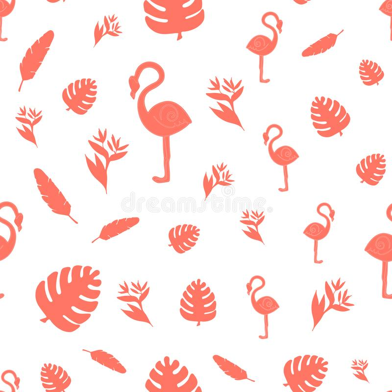 Tropical leaves monstera and flamingo , seamless pattern in Colour year 2019 Living Coral vector illustration
