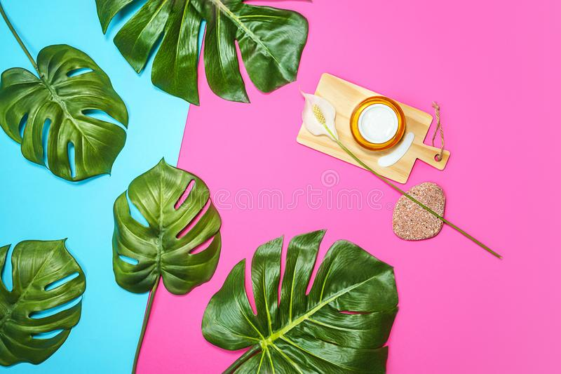 Tropical leaves Monstera isolated, Swiss Cheese Plant and jar of cream or mask for beautiful skin or cosmetics serum, flower on royalty free stock image