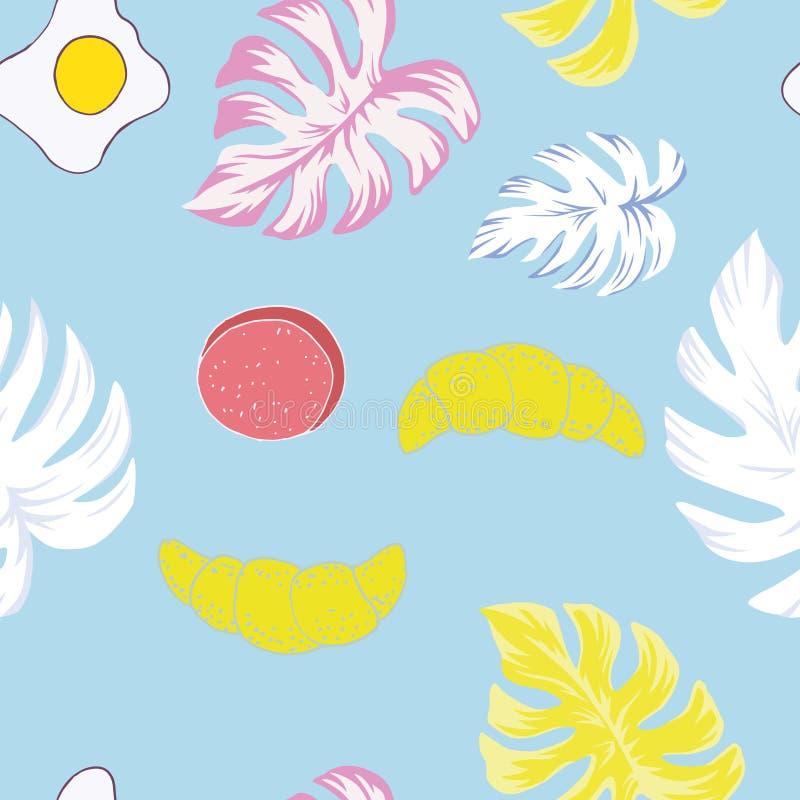 Monstera wink breakfast seamless stock illustration