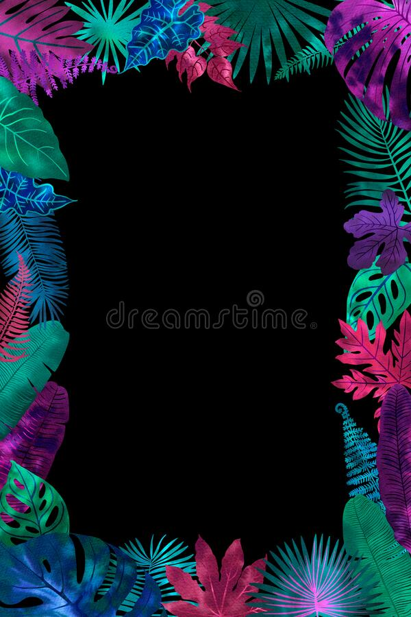 Free Tropical Leaves Neon Watercolor Black. Ferns, Fitter, Fan Palm. Bright Pink, Turquoise, Blue, Purple Colors. Frame For Stock Images - 215401034