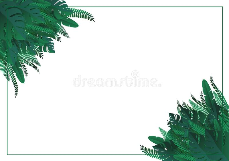 Tropical leaves. Paper cut style. Vector Illustration stock illustration