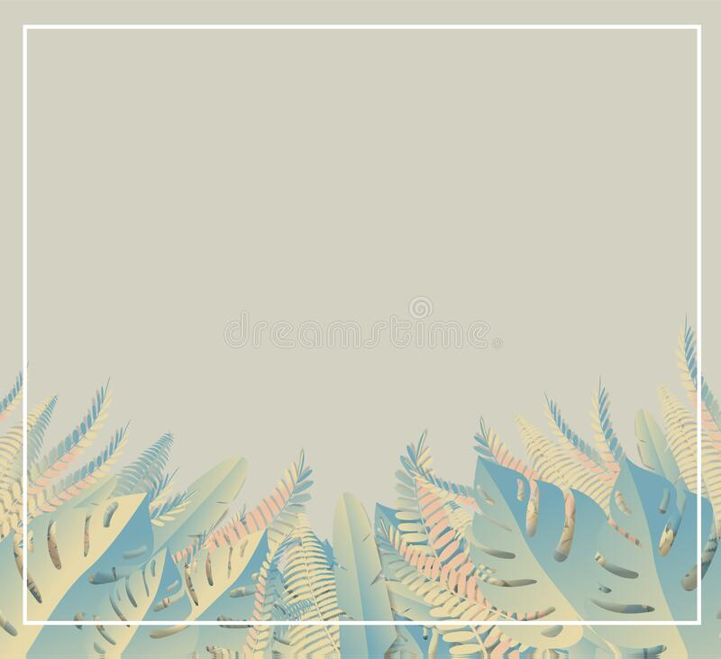 Tropical leaves. Paper cut style. Vector Illustration royalty free illustration