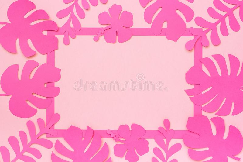 Tropical leaves pattern. Trendy tropical leaves of paper and frame on pink background. Template for text or your design stock image