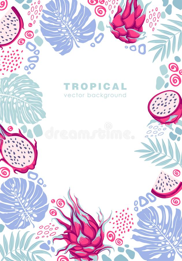 Poster, tropical frame template with exotic leaves and fruits - monstera, palm foliage, dagon fruits, pitaya. stock illustration