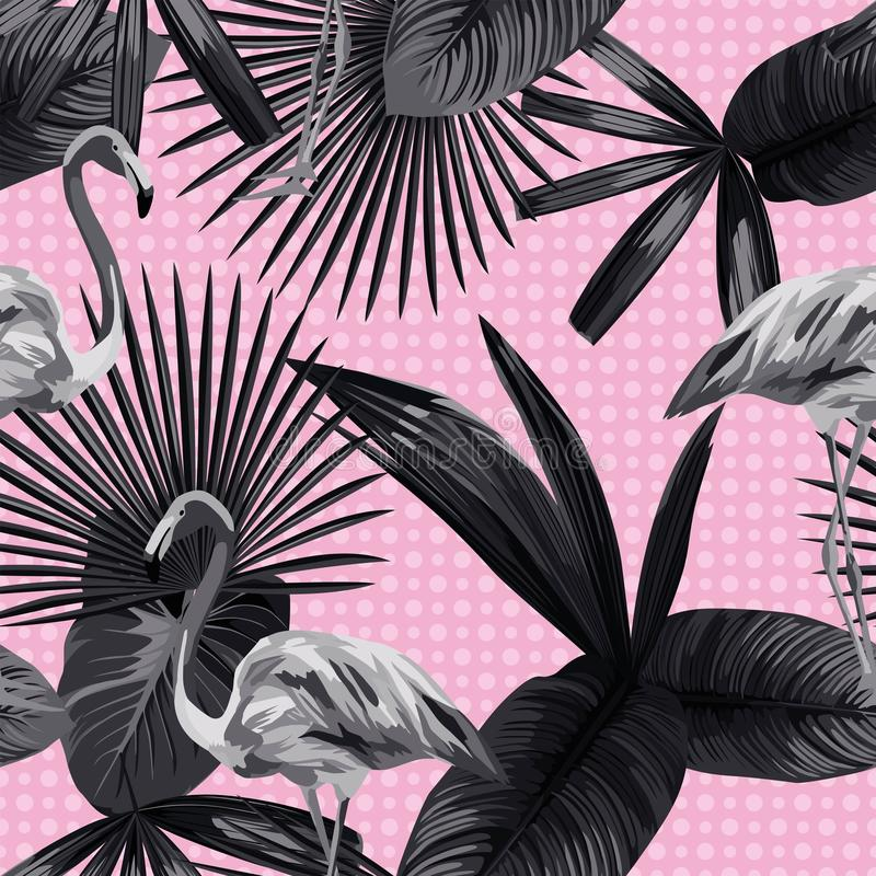 Tropical leaves seamless flamingo background circle black white stock illustration