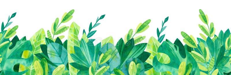 Tropical leaves seamless horizontal background. Jungle watercolor drawings. Cartoon green illustrations  background stock illustration
