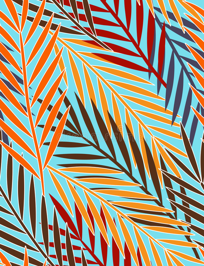 Tropical leaves - seamless pattern vector illustration