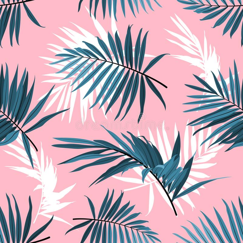 Tropical leaves seamless pattern, Green palm fronds on a pink background. Summer tropical backdrop, Vector repeat. Tropical leaves seamless pattern, Green palm royalty free illustration
