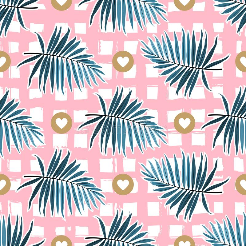 Tropical leaves seamless pattern. Green palm fronds on a pink checkered background. Striped tropical backdrop, Vector vector illustration