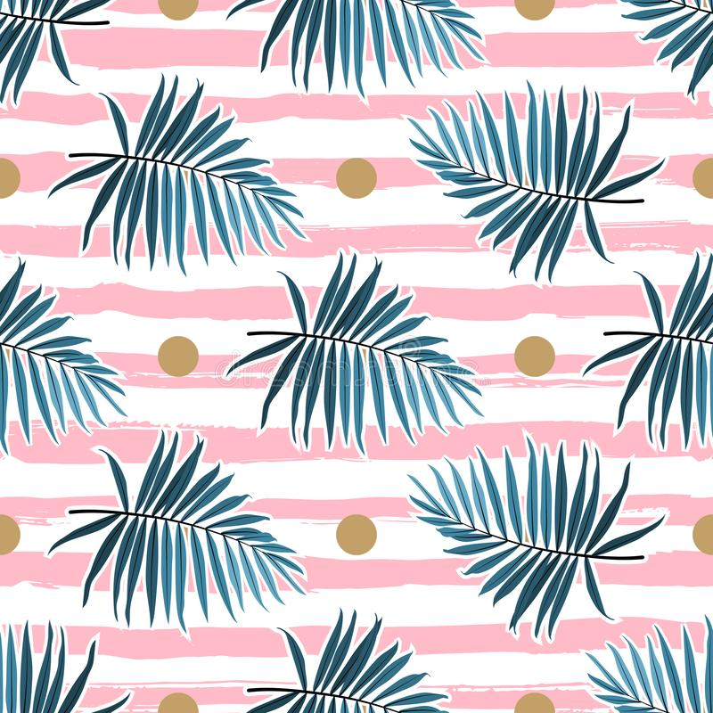 Tropical leaves seamless pattern, Green palm fronds on a pink striped background. Vector illustration. Tropical leaves seamless pattern, Green palm fronds on a stock illustration