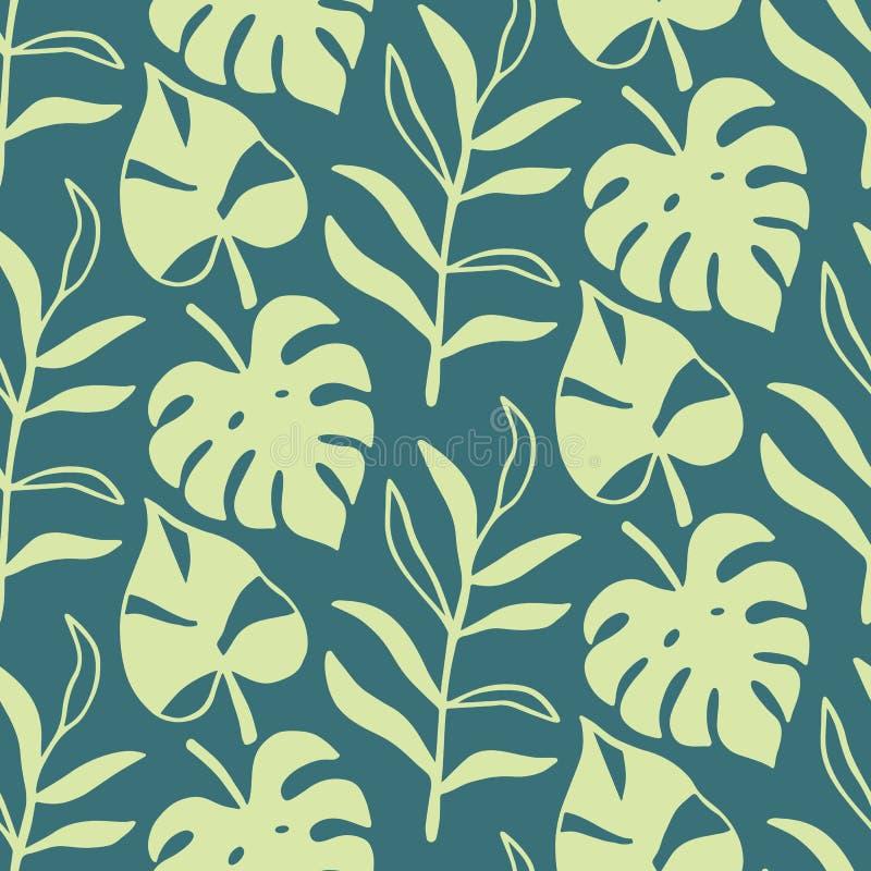 Tropical Leaves seamless pattern, modern hand drawn nature foliage stock illustration