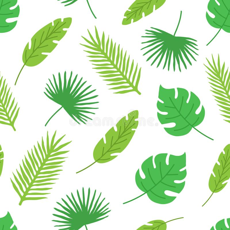 Tropical leaves seamless pattern on white background. Floral background. Hand drawn palm and monstera leaf. Modern vector illustration