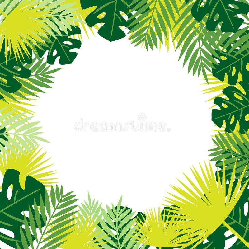 Tropical leaves vector frame. Place for text. Tropical leaves vector frame. Palm leaves placed as frame. Place for text vector illustration