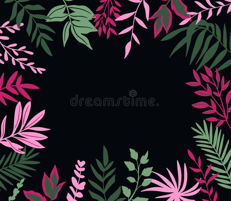 Tropical leaves. Vector frame in scandinavian style. Hand drawn background. Poster with place for text. vector illustration